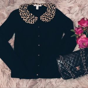 EUC Autumn Cashmere Black Cardigan Leopard Collar